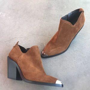 Rebecca Minkoff Suede Brown Western Booties Sz 7